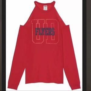 VS PINK University of Dayton Cold Shoulder Tee